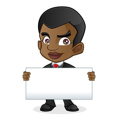 man holding a blank sign: Black Business Man Holding Blank Sign Illustration