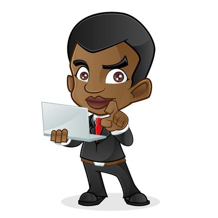 man with laptop: Black Business Man Holding Laptop Illustration
