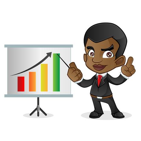 black business man: Black Business Man Doing Presentation Illustration