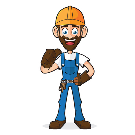belt up: Handyman Giving Thumb Up Isolated In White Background