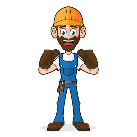 belt up: Handyman Giving Thumbs Up Isolated In White Background