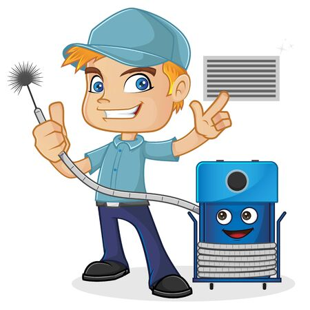 HVAC Technician holding cleaning machine