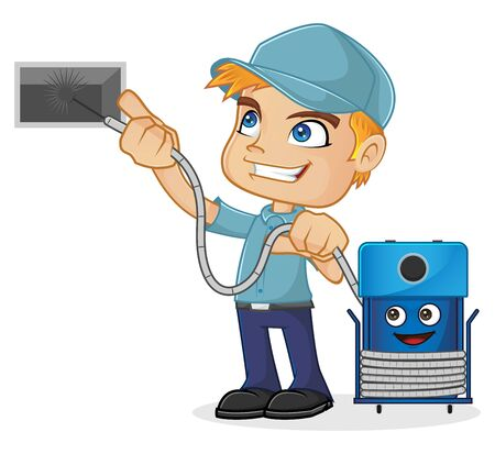 エアダクトを清掃空調技術者