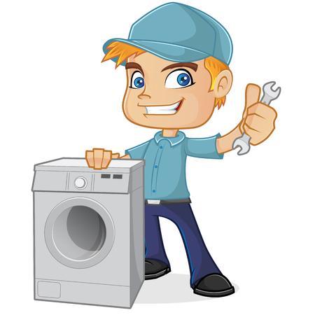HVAC Techniker mit Waschmaschine Standard-Bild - 73136282