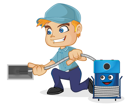 HVAC Technician cleaning air duct Illustration