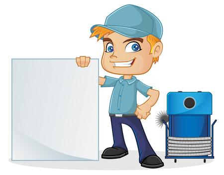 HVAC Techniker mit leeren Zeichen Vektorgrafik