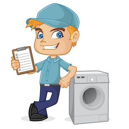 洗濯機に寄りかかって空調技術者