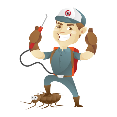 Pest control service killing cockroach and giving thumb up