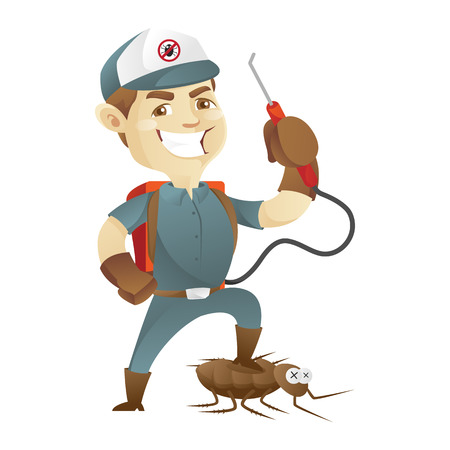 Pest control service killing cockroach and holding pest sprayer