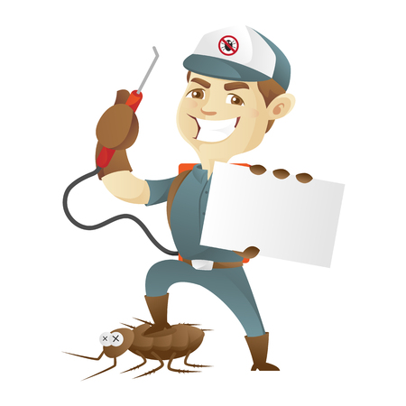 pest control: Pest control service killing cockroach and holding business card Illustration