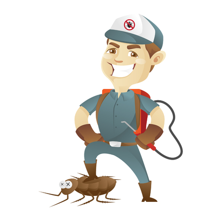 Pest control service killing cockroach and holding pest sprayer