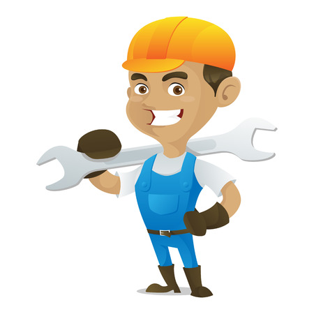 handy man: Handyman carrying wrench isolated in white background