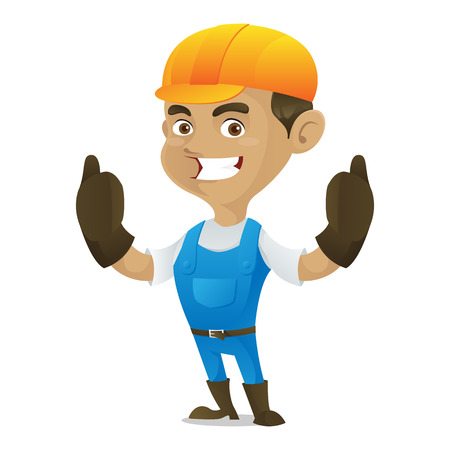 handy man: Handyman giving thumbs up isolated in white background Illustration