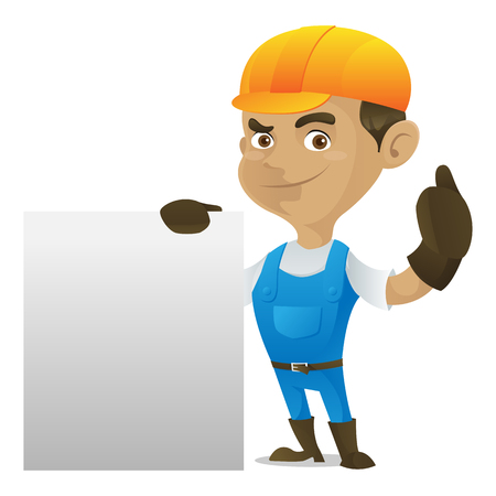 Handyman holding blank sign isolated in white background Illustration