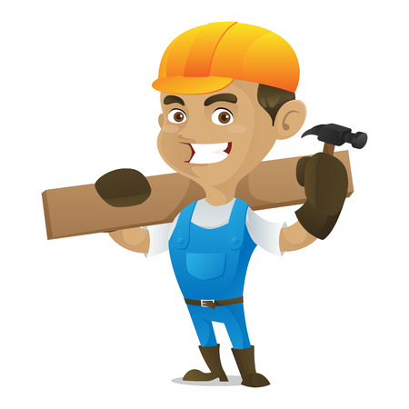 Handyman holding hammer and carrying wood plank isolated in white background Vectores