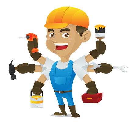 Handyman holding multiple tools isolated in white background