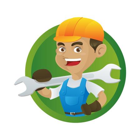 Handyman holding wrench isolated in white background Illustration