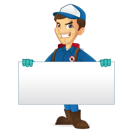Exterminator holding blank sign isolated in white background Illustration