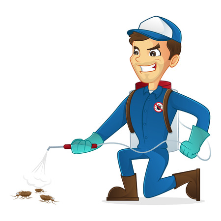 pest control: Exterminator killing bugs using pest sprayer isolated in white background