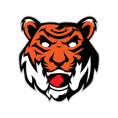 Tiger head mascot logo isolated in white background Illustration