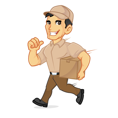 Delivery man running delivering package isolated in white background