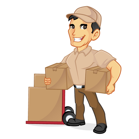 Delivery man holding package isolated in white background Illustration
