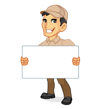 Delivery man holding blank sign isolated in white background