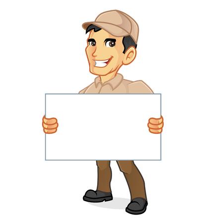 白い背景で分離された空白記号を保持している配達人  イラスト・ベクター素材