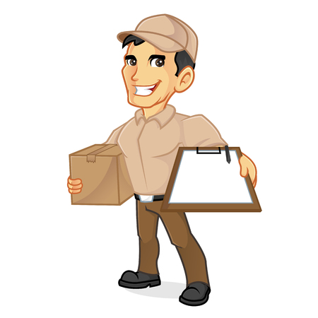 Delivery man holding package and clipboard isolated in white background Illustration