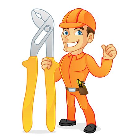 Electrician carrying pliers and giving thumb up isolated in white background