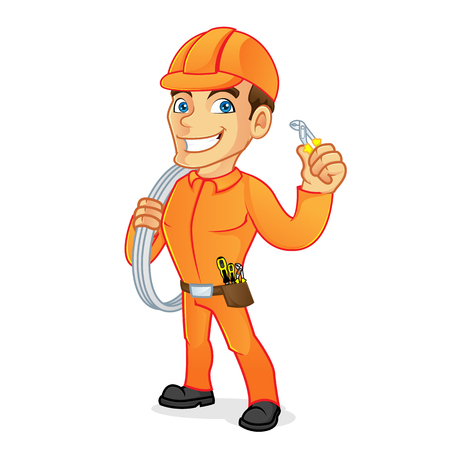 Electrician carrying cables and pliers isolated in white background