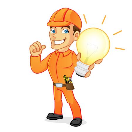白い背景で分離された電球を保持している電気技師