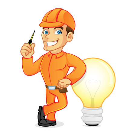 Electrician leaning on light bulb isolated in white background Illustration