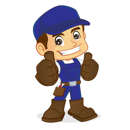 belt up: Handyman giving thumbs up isolated in white background Illustration