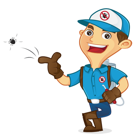 Exterminator killing bug and leaning isolated in white background