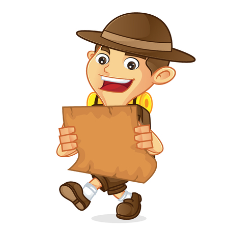 ranger: Boy scout cartoon holding a map isolated in white background Illustration
