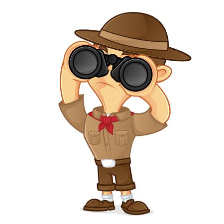 Binocolo della tenuta del fumetto del boy scout isolato nel fondo bianco Archivio Fotografico - 78974141