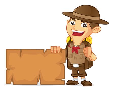 Ragazzo scout cartone animato in possesso di segno bianco isolato in sfondo bianco Archivio Fotografico - 78974143