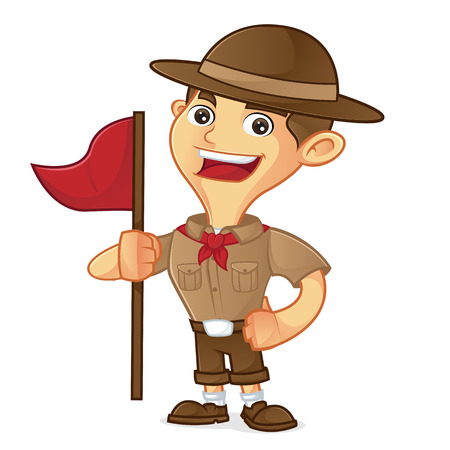 ranger: Boy scout cartoon holding flag isolated in white background