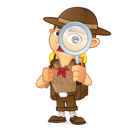 Boy scout cartoon holding magnifying glass isolated in white background