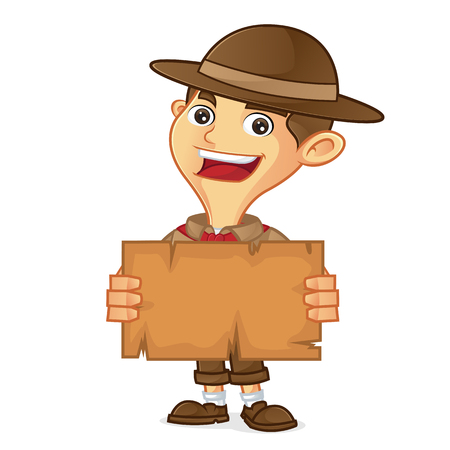 Boy scout cartoon holding map isolated in white background