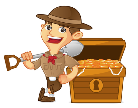 Boy scout cartoon leaning on treasure isolated in white background
