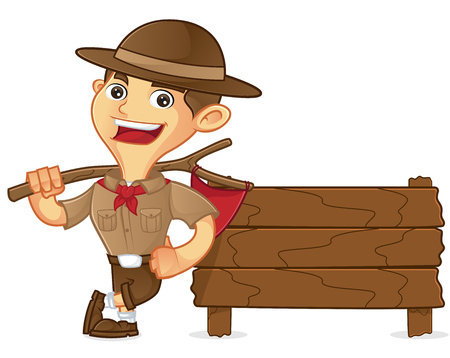 Boy scout cartoon leaning on wooden plank isolated in white background Vetores