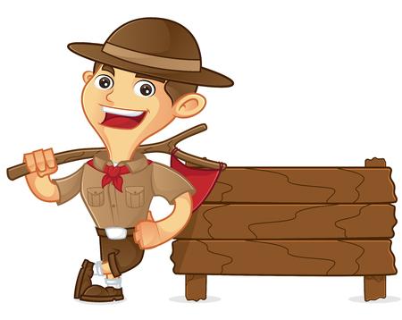 Dessin animé scout de garçon s'appuyant sur une planche de bois isolé sur fond blanc Vecteurs