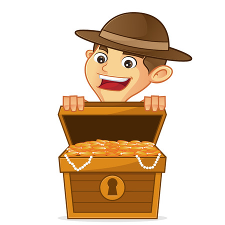 Boy scout cartoon opening treasure isolated in white background Illustration