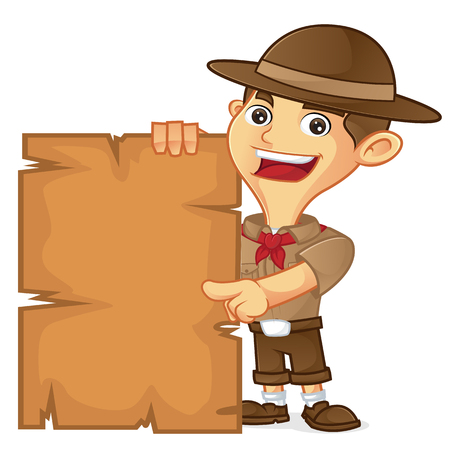 Boy scout cartoon pointing on blank sign isolated in white background