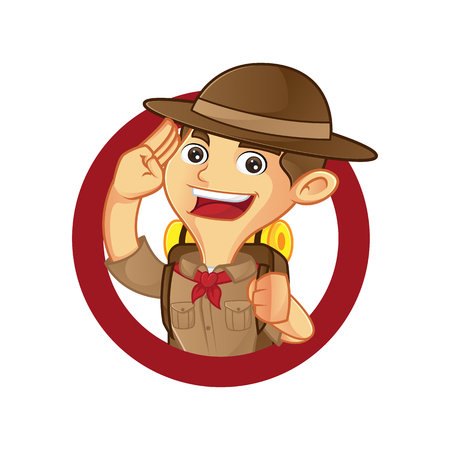Boy scout cartoon saluting inside circle isolated in white background