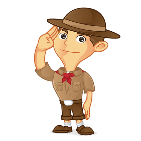 Boy scout cartoon saluting isolated in white background