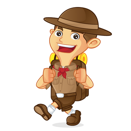Boy scout cartoon walking and carrying backpack isolated in white background