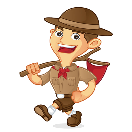 Boy scout cartoon walking and carrying flag isolated in white background Vettoriali